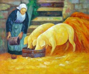 paul-serusier-bretonne-donnant-a-manger-aux-cochons-reproduction-grands-maitres-peinture-sur-toile-galerie-art-artiste-peintre-copiste-professionnel-qualite-tableaux-musee-france-culture